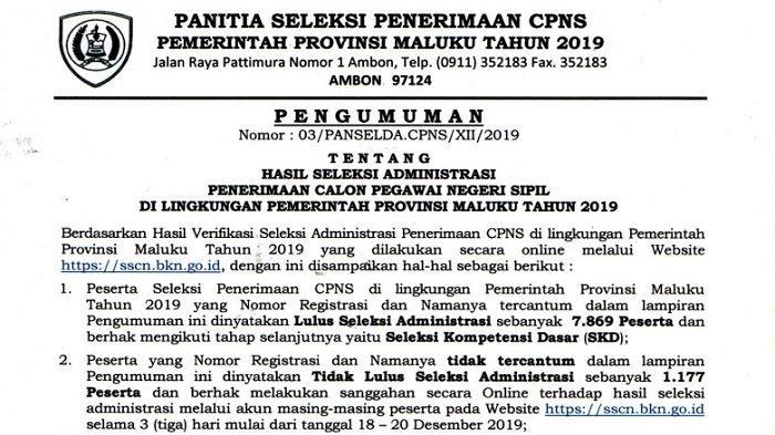 Hampir 2 Ribu Pelamar Tersisih, Ini Hasil Seleksi Administrasi CPNS Pemprov Maluku