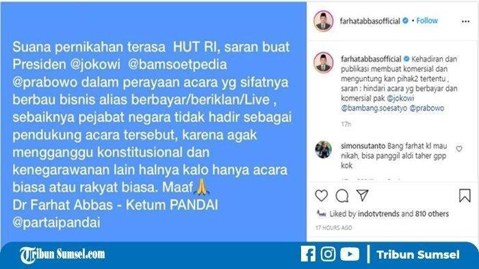 Farhat Abbas Turut Komentari Kehadiran Jokowi dan Prabowo di Pernikahan Atta-Aurel