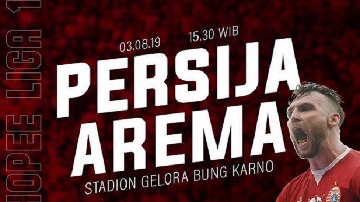 LIVE TV Online Persija vs Arema Sabtu Sore Ini 15.30 WIB, Akses di HP via Indosiar dan Usee TV