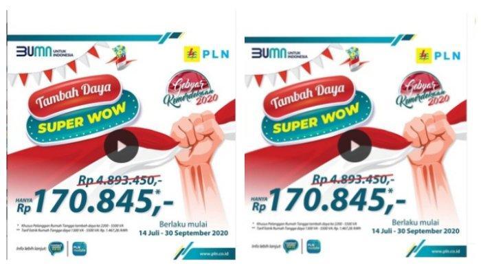 Diskon Tambah Daya Listrik 'Super Wow' hanya Rp 170.845, Promo Berlaku hingga 30 September 2020