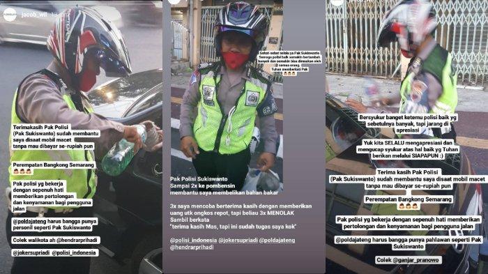 VIRAL Polisi Bantu Pengendara Mobil yang Kehabisan Bahan Bakar, Belikan Bensin Tak mau Dibayar