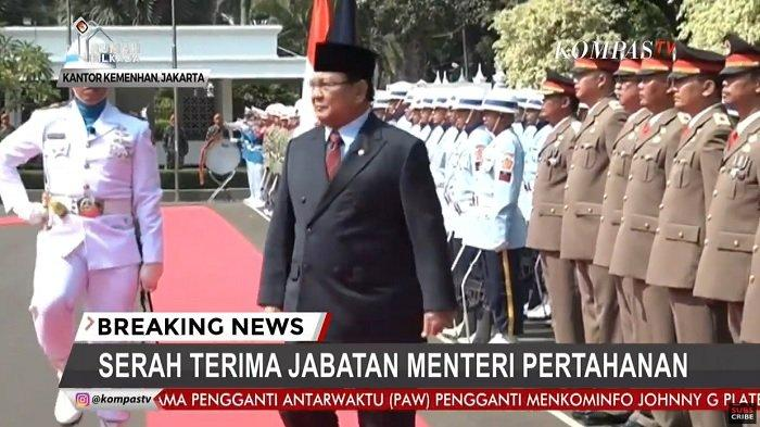 Sekarang Live TV Online Sertijab Menteri Pertahanan, Prabowo Cek Pasukan