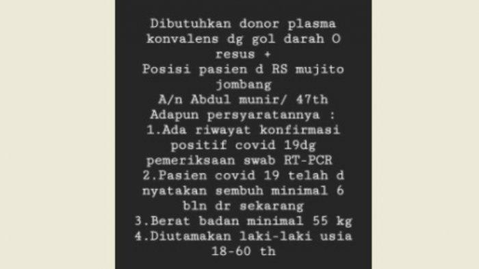 Pria di Jombang yang membutuhkan donor plasma