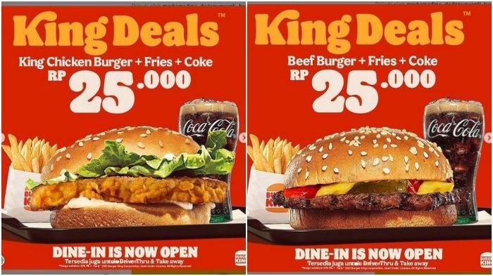 Promo Burger King Deals: King Chicken Burger + Fries + Coke, Cuma Rp 25.000 Aja