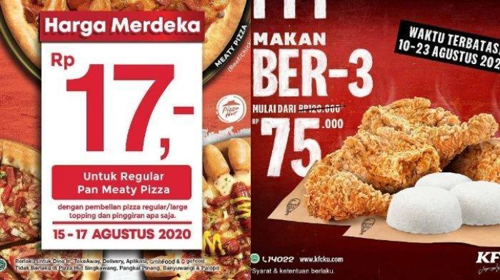 PROMO HUT ke-75 RI: Pizza Hut Rp 17, KFC Makan Bertiga Hanya Rp 75 Ribu