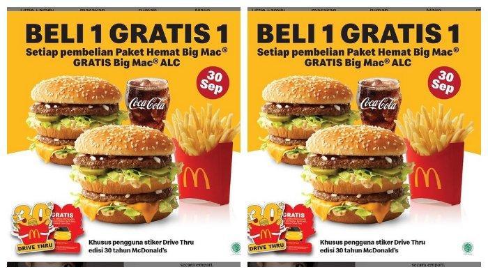 Promo McDonald Khusus 30 September 2021: Beli 1 Gratis 1 untuk Pembelian Paket Hemat Big Mac