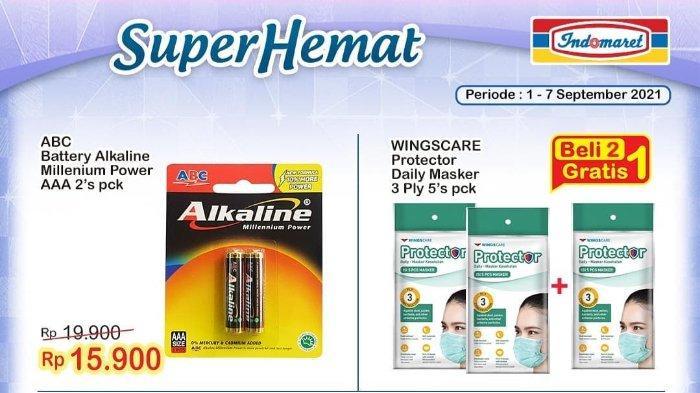 Promo Indomaret Super Hemat 1-7 September 2021: Wingscare Protector Daily Masker Beli 2 Gratis 1