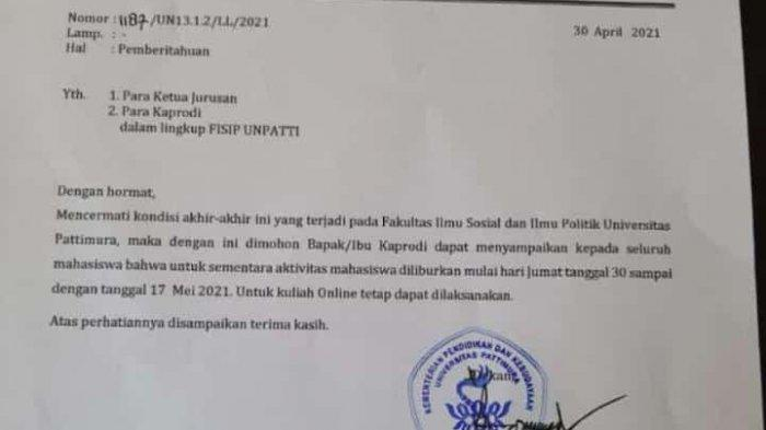 Surat edaran aktivitas perkuliahan di Fisip Unpatti sementara diliburkan.