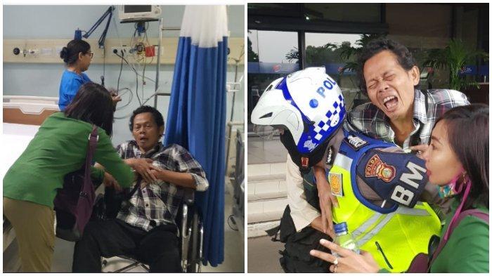 Viral Seorang Polisi Gendong Penumpang Busway yang Terkena Serangan Jantung Menuju Rumah Sakit