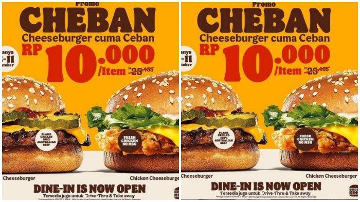 Promo Burger King: Cheeseburger Cuma Rp 10.000