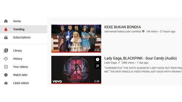 Lagu Kekeyi - Keke Bukan Boneka Trending di Youtube Kalahkan Lady Gaga x BLACKPINK - Sour Candy