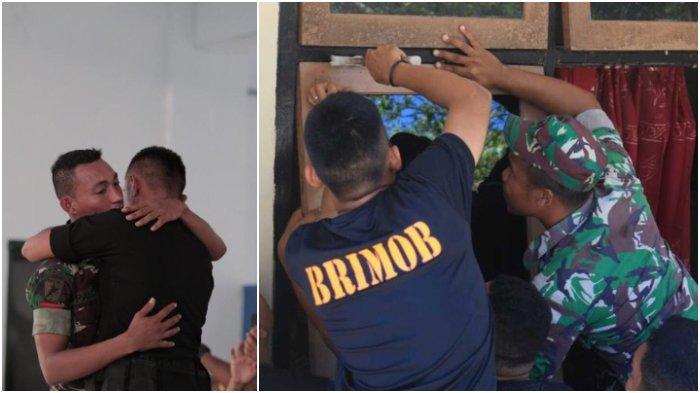 Berakhir Damai, TNI dan Brimob di Maluku Gotong Royong Perbaiki Rumah yang Dirusak saat Bentrok