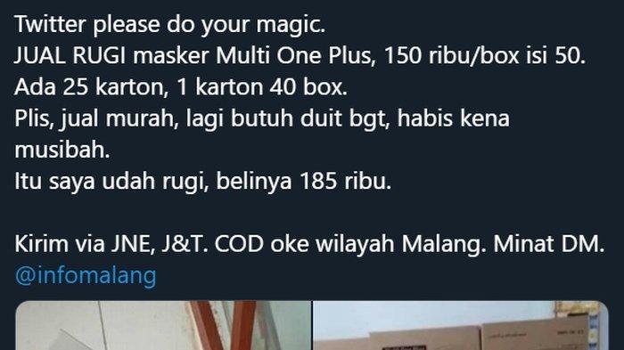VIRAL Jual Rugi, Penjual Masker Dibully Netizen Twitter, Dicap Penimbun hingga Didoakan Tak Laku