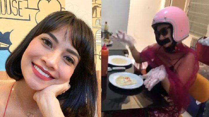 Kena Kritik Netizen, Vanessa Angel Pakai Helm & Kacamata Hitam saat Bikin Kebab: Agar Kalian Senang