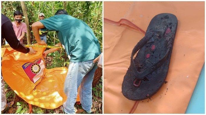Petugas mengevakuasi tengkorak manusia yang ditemukan di Kecamatan Cambai, Prabumulih. Di sekitar tengkorak, terdapat satu sendal jepit berwarna hitam.