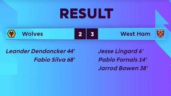 Raih Kemenangan Dari Wolverhampton 2-3, West Ham Unggul 1 Poin Dari Chelsea