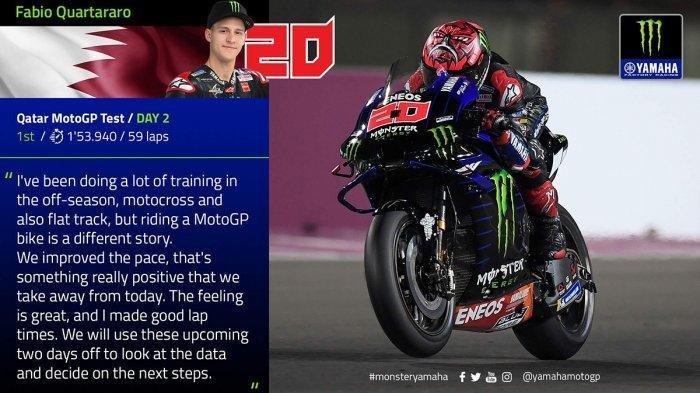 Fabio Quartararo Semakin Didepan, Sesi Test Kedua MotoGP Qatar, Ini Catatan Waktu Tercepatnya