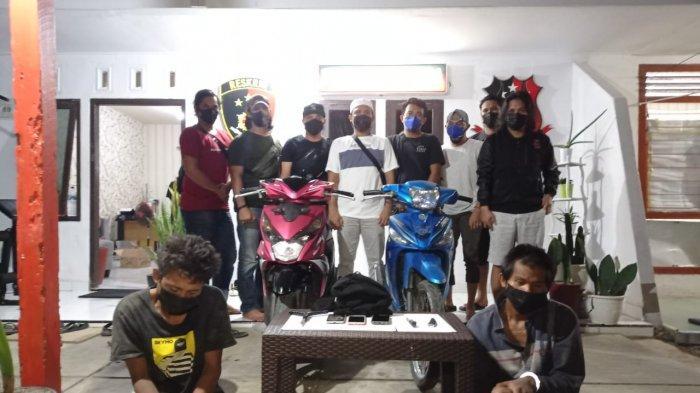 Dua Pelaku Curanmor saat diamankan Tim Buser Naga Polres Pangkalpinang, Minggu (16/5/2021