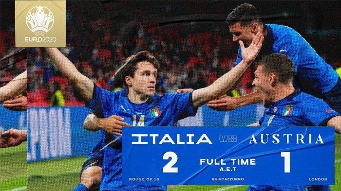 KemenanganTimnas Italia Atas Austria 2-1, Amankan Tiket Perempat Final