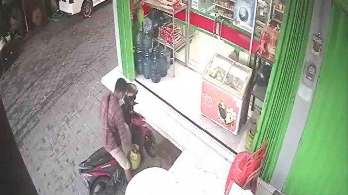 Viral, Aksi Dugaan Pencurian Tabung Gas di Sidakarya Denpasar Terekam Kamera CCTV