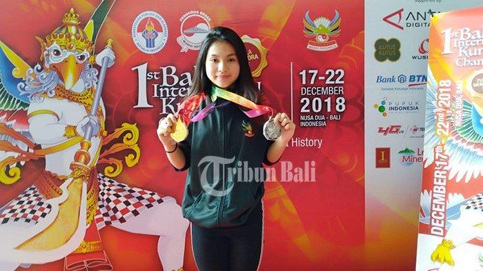 Angelina Kurniawan Raih Medali Emas dan Perak Bali Open International Kung Fu Championship 2018