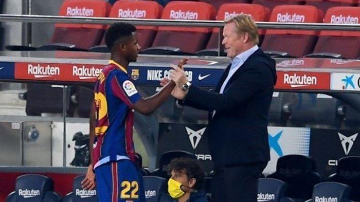 Ansu Fati (Kiri) dan Ronald Koeman (kanan) dalam laga Barcelona vs Villarreal, Senin (28/9/2020) dini hari WIB.