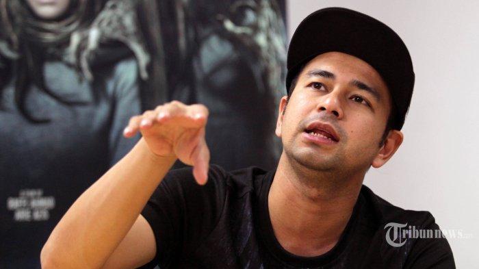 Artis Raffi Ahmad berbincang dengan awak Tribunnews dan Warta Kota saat bertandang ke kantor Redaksi Tribunnews.com, di Palmerah, Jakarta, Selasa (10/4/2018).