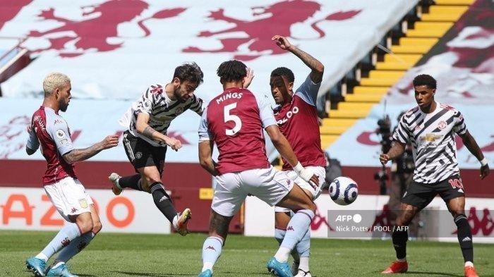 Hasil Liga Inggris Aston Villa vs Man United, Cavani Cetak Gol Lagi, Tunda Pesta Juara Man City