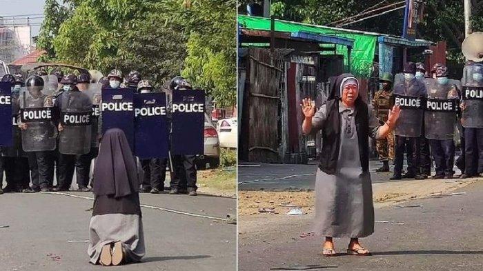 Dibagikan Uskup Agung Yangon, Foto Biarawati Menangis dan Berlutut di Depan Polisi Myanmar Viral