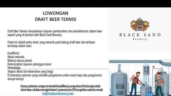 Lowongan Kerja di Badung, Black Sand Brewery Membutuhkan Draft Beer Teknisi, Ini Persyaratannya