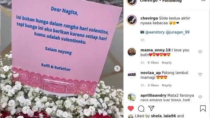 Sebuah buket bunga jumbo untuk Nagita Slavina saat Valentine 2021, pesan yang ditulis Raffi Ahmad langsung jadi sorotan.