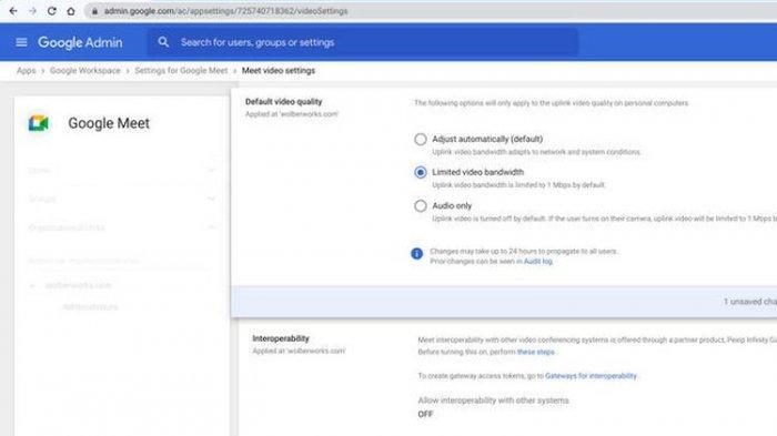 Cara membatasi kecepatan uplink menjadi 1 Mbps untuk menghemat pengguaan kuota internet selama menggunakan Google Meet.