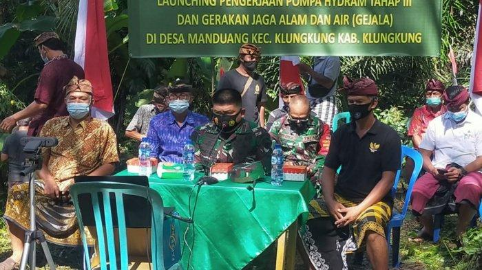 Memenuhi Kebutuhan Air Bersih Untuk 205 KK, Kodim Klungkung Bangun Pompa Hidram di Desa Manduang