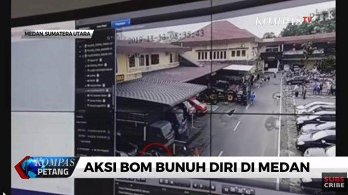 Video Detik-detik Pelaku Bom Bunuh Diri Masuk ke Polrestabes Medan dan Meledakkan Diri