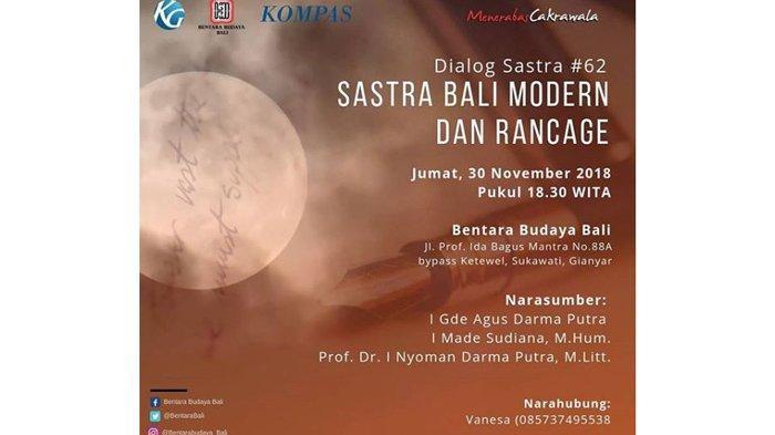 Dialog Sastra #62 Bentara Budaya Bali akan Bahas Sastra Bali Modern dan Hadiah Sastra Rancage
