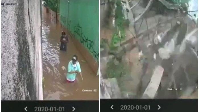 Di Luar Nalar, 2 Pemuda Aysik Main Hp Saat Banjir Selamat dari Runtuhan Tembok, Videonya Viral