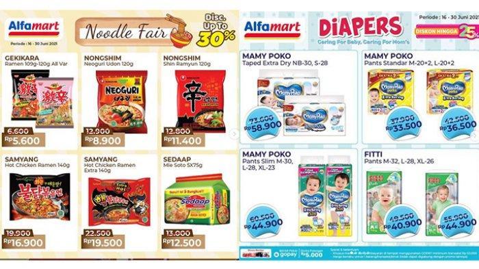 PROMO Alfamart 23 Juni 2021, Mie Instant Diskon Hingga 30%, Samyang Rp 16.900, 5 Sedaap Rp 12.500