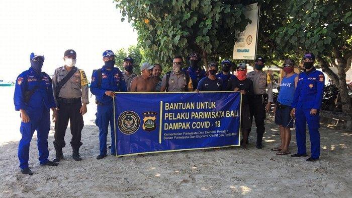 Ditpolairud Salurkan Bantuan Sembako untukWarga di Nusa Lembongan dan Nusa Penida