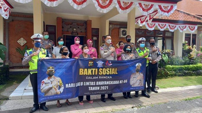 HUT ke-66 Lalu Lintas Bhayangkara, Ditlantas Polda Bali Salurkan Bantuan kepada Lansia