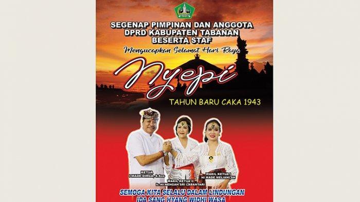 Pimpinan dan Anggota DPRD Kabupaten Tabanan beserta Staf Mengucapkan Selamat Hari Raya Nyepi