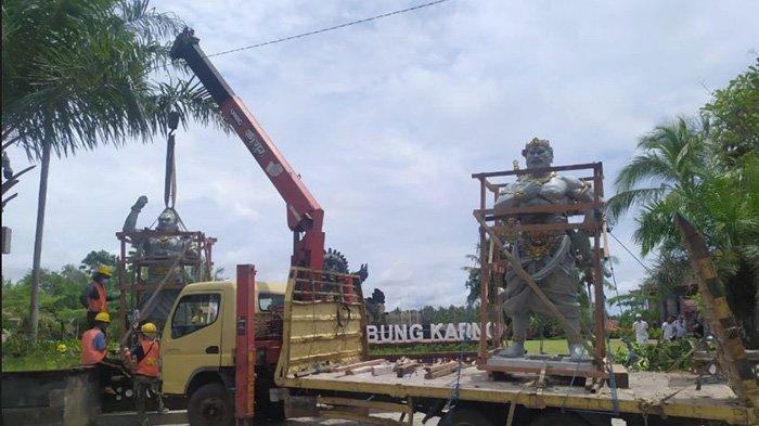 Dua Patung Raksasa Berdiri di Taman Kota Tabanan, Pengadaan Bersumber dari BKK Provinsi Bali 2020