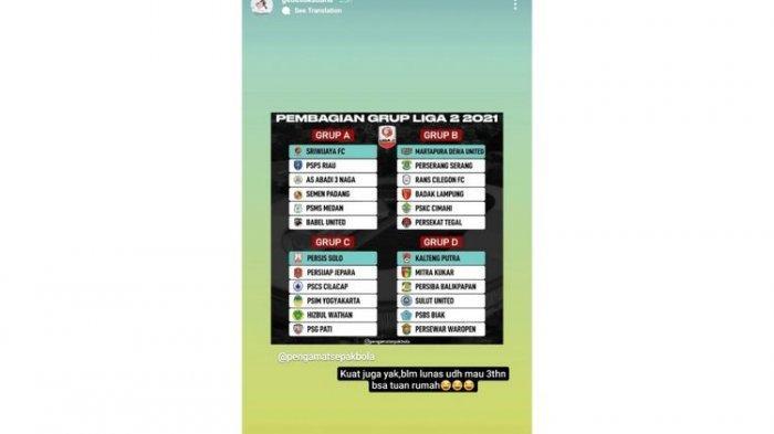 Tangkapan layar instagram eks pemain Kalteng Putra yang kini membela PSMS Medan, I Gede Sukadana.