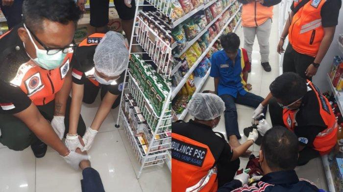 Kaki Karyawan Sebuah Minimarket di Denpasar Terjepit Lift Barang, Evakuasi Berlangsung Dramatis