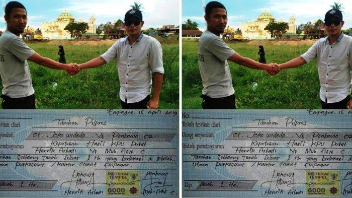 Viral Foto Aksi Taruhan Tanah Seluas 1 Hektare Terkait Hasil Pilpres, Ini Penjelasannya