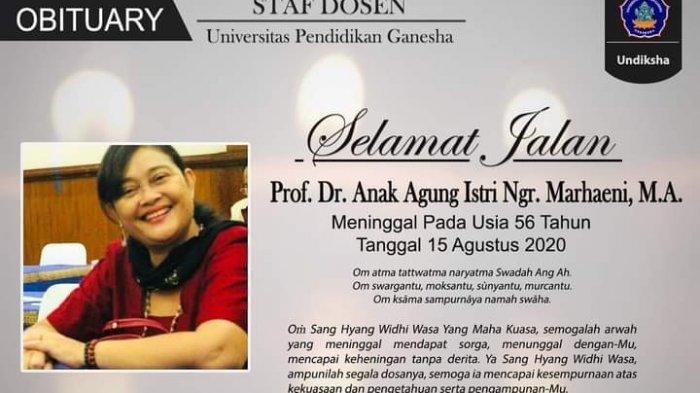 Guru Besar Undiksha Bali Dikremasi di Santha Yana dengan Protokol Covid-19, Mahasiswa Turut Melayat