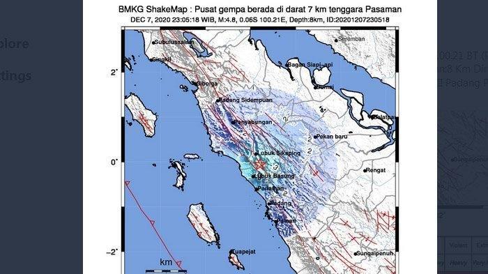 BMKG Sebut Gempa Pasaman Bermagnitudo 4,8 Berpusat di Darat