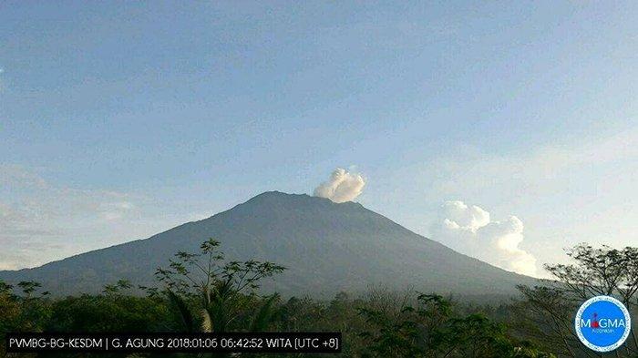 Kondisi Gunung Agung Pada Pengamatan 6 Jam Terakhir, Asap Kawah Bertekanan Lemah