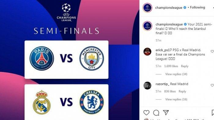 Hasil Drawing Semifinal Liga Champions: Real Madrid vs Chelsea, Duel Tim Tajir PSG vs Man City