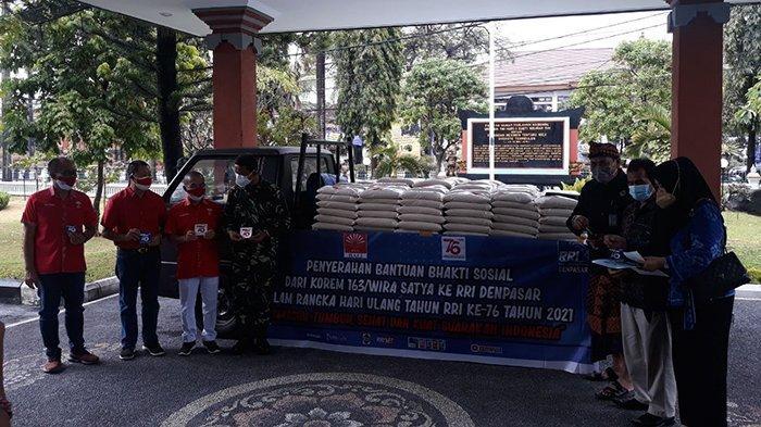 Korem 163/Wira Satya dan RRI Salurkan Bantuan Sembako dari INTI Bali