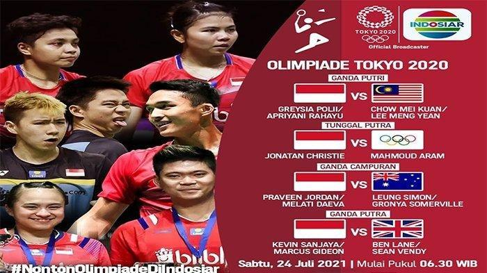 Jadwal pertandingan Badminton di Olimpiade Tokyo 2021 live Indosiar mulai pukul 06.30 WIB, duel Greysia Polii/Apriyani Rahayu vs Chow Mei Kuan/Lee Meng Yean jadi pembuka, Sabtu (24/7/2021)